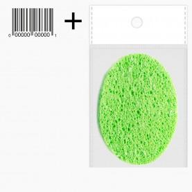 SPN05 ОРР+стикер шк губка для умывания и снятия макияжа овал 11см х 7,5 см 5гр.(10 шт/уп ZIP 17*25 2500/кор)