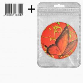 MIR_206 zip10*15+стикер ш/к зеркало 2ое с увеличением складное карманное КРУГ 7,5см рисунок РАЙСКИЕ БАБОЧКИ в ШБ 40 гр.(12 шт/уп 480/кор)