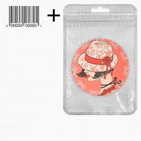 MIR_208 zip10*15+стикер ш/к зеркало 2ое с увеличением складное карманное КРУГ 7,5см МИКС - СУМОЧКА, ДЕВОЧКА, ПОМАДА в ШБ 40 гр.(12 шт/уп 480/кор)