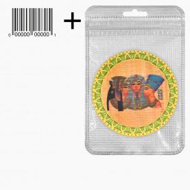 MIR_209 zip10*15+стикер ш/к зеркало 2ое с увеличением складное карманное КРУГ 7,5см рисунок МИКС - ЕГИПЕТ, НЕФЕРТИТИ в ШБ 40 гр.(12 шт/уп 480/кор)