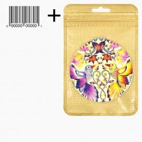 MIR 25 ZIP gold 8*13 +шк зеркало 2ое с увеличением складное карманное КРУГ 6 см серия СЕКРЕТЫ САДА рельефный рисунок в ШБ 31 гр.(12 шт/уп )