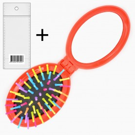 M20В (М6) ОРР+стикер шк РАСКРЫТАЯ расческа НА ПОДЛОЖКЕ ёжик овал зуб-цвет с зеркал 7,5*5,5см расклад 16,5*5,5 см/ 32гр (12 шт/ZIP25*35)