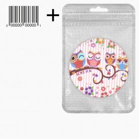 MIR_221 zip10*15+стикер ш/к зеркало 2ое с увеличением складное карманное КРУГ 7,5см рисунок МИКС - СОВЫ в ШБ 38 гр.(12 шт/уп 480/кор)