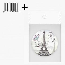 MIR002 ОРР+ стикер шк зеркало карманное КРУГ 7,5 см серия ЭЙФЕЛЕВА БАШНЯ 24 гр.(12 шт/уп zip 15*20)