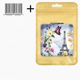 MIR 24 ZIP gold 8*13 +шк зеркало 2ое с увеличением складное карманное КВАДРАТ 6 см серия РОМАНТИКА рельефный рисунок 31 гр.(12 шт/уп)
