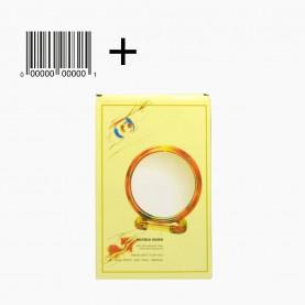 MIR01 коробка + стикер шк зеркало КРУГЛОЕ с подставкой 2-х сторонн 9 см д +5 подс, с увелич 14*9 см 60 гр. (12шт/уп ZIP 32*25/ 288/кор)