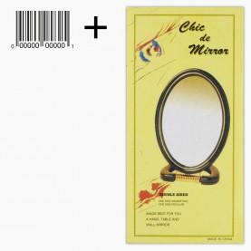 MIR 02 зеркало ОВАЛ коробка + стикер шк с подст 2-х сторонн 8*11см +5под, с увел 8*16,5 см 65 гр.(12шт/уп 288/кор)