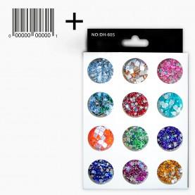 DN24 со ШК МИКС глиттеры для ногтей (12 баночек стразы ) в картон упаковке 14,5х9см.(12 шт/уп 360 шт/кор) цена 1 шт
