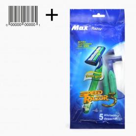 SHV10 Одноразовый бритвенный станок 3 лезвия, 5шт/уп MAX Razor Speed Razor Синяя упаковка 46гр. (5уп/уп 400/кор) цена за УПАКОВКУ из 5 бритв
