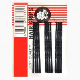 HCL01 Невидимки для волос на БЛИСТЕРЕ 12 шт, длина 4,5 см цвет ЧЕРНЫЙ цена за УПАКОВКУ на блистере 31гр (12/блстр 2880/кор)