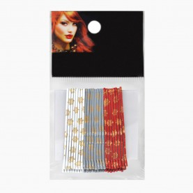 HCL08 Невидимки для волос в ОРР на БЛИСТЕРЕ 24 шт, длина 5 см МИКС:бел*сереб*красн цена за БЛИСТЕР 90гр (144 шт=6 ОРР) (1 блстр/уп) 288/кор