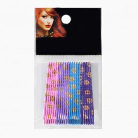 HCL10 Невидимки д/ волос в ОРР на БЛИСТЕРЕ 24 шт, длина 5 см МИКС:/ 4 цвета: роз,фиолет, бирюз,цена за БЛИСТЕР 97 гр/ (144 шт=6 ОРР) (1 блстр/уп )
