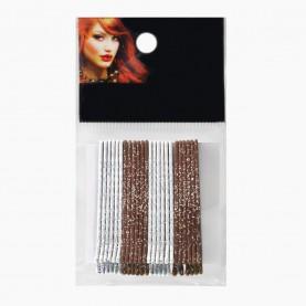 HCL09 Невидимки для волос в ОРР на БЛИСТЕРЕ 24 шт, длина 5 см МИКС:шоколад*серебро/ цена за БЛИСТЕР 97 гр(144 шт=6 ОРР) (1 блстр/уп 288/кор)