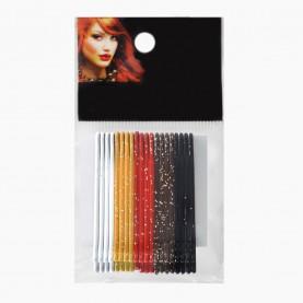 HCL11 Невидимки для волос в ОРР на БЛИСТЕРЕ 24 шт, длина 5 см МИКС:5 цветов с блестками/ цена за БЛИСТЕР 97гр(144 шт=6 ОРР) (1 блстр/уп 288/кор)