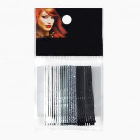 HCL12 Невидимки для волос в ОРР на БЛИСТЕРЕ 24 шт, длина 5 см МИКС: 6 цветов с блестками/ цена за БЛИСТЕР 98гр (144 шт=6 ОРР) (1 блстр/уп)