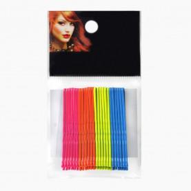 HCL13 Невидимки для волос в ОРР на БЛИСТЕРЕ 24 шт, длина 5 см МИКС:син*неон*роз*оранж/ цена за БЛИСТЕР 97 гр(144 шт=6 ОРР) (1 блстр/уп)