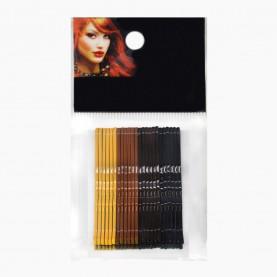 HCL14 Невидимки для волос в ОРР на БЛИСТЕРЕ 24 шт, длина 5 см МИКС:4 цвета жел, кор, тем./ цена за БЛИСТЕР (144 шт=6 ОРР) 93гр. (1 блстр/уп 288/ кор)
