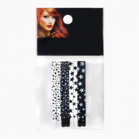 HCL16 Невидимки для волос в ОРР на БЛИСТЕРЕ 48 шт, длина 6,5см МИКС:черно-бел звезды/цена за БЛИСТЕР (6 пак по 8 невидимок) 115 гр. (48 шт=6 ОРР)