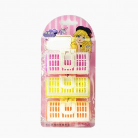 ROL 8 БИГУДИ 3 шт на БЛИСТЕРЕ пластик с фиксатором D-3 см/длина -7 см цветные 50 гр. (12 наб(3 бигуди)/уп-240/кор) ЦЕНА за набор из 3 бигуди