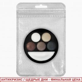 1810 ZIP 10*15 silver C new микс 6-цветная палетка для век 4 группы/зеркало+стик/ 15 гр. (24/уп 144/кор)