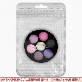 1811 ZIP 10*15 silver A микс палетка для век 7 цветов /4 группы/зеркало+стик/ 15 гр. (24/уп 144/кор)