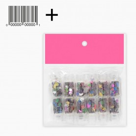 Глиттер для ногтей набор 12шт 23гр DN07-2 стикер шк (24 набора в иннер боксе)