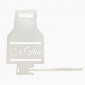 CX-KEPN квака - вешалка из PVC МЕРИЛИН ЛОГО для расчесок с хлястиком БОЛЬШАЯ 7,3 х 13,2 см длина хлястика 10 см 3 гр (1шт/уп)