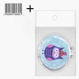 MIR_302 ОРР +стикер шк зеркало складное карманное совушки с рисунком 6*9 см 30 гр.(12 шт/уп ZIP 15*20 - 600/кор)