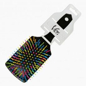 CMB110 CX-KEPN-держатель+шк расческа массажная, квадратная подушка, цветные зубчики волна 23,5*7,5 cm микс 87 гр (6 шт/уп ZIP 25*35 - к/240шт)