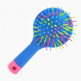 CMB515 щетка мат кругл голова+зеркало с цветн ручкой пластик зубц разноцвет подушка-цвет 15*8*3/ 67гр. в ОРР (6шт/уп кор/240шт)