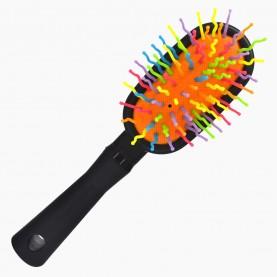 CMB516 щетка с черн ручкой пластик зубц-разноцвет МИКС подушка-цвет 17*8*4,5/ 67гр. в ОРР (6шт/уп кор/240шт)