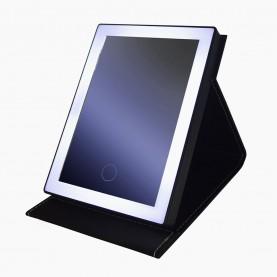 MIR 33 зеркало настольное с лед-подсветкой увеличивающ ПРЕМИУМ сенсор+зарядка/в коробке цвет-черн и розов 19*14*2 см 410 гр.(1 шт/уп 40/кор)