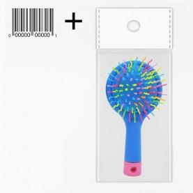 CMB515 ОРР+стикер шк щетка мат кругл голова+зеркало с цветн ручкой пластик зубц разноцвет подушка-цвет 15*8*3/ 67гр.(6шт/уп кор/240шт)
