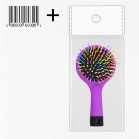 CMB514 ОРР+стикер шк щетка мат кругл голова+зеркало с цветн ручкой пластик зубц разноцвет подушка-черн 15.5*7.5/ 63 гр. (6шт/уп кор/240шт)