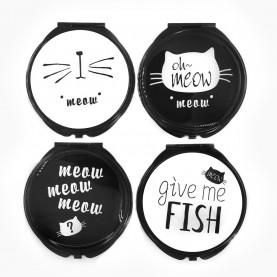 MIR 505 зеркало 2ое с увеличением складное карманное КРУГ 7,5 см рисунок МИКС - надписи MEOW*FISH в ШБ 57 гр.(12 шт/уп 288/кор)