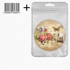 MIR_211 zip10*15+стикер ш/к зеркало 2ое с увеличением складное карман КРУГ 7,5см МИКС - ЦВЕТЫ, ПРОВАНС в ШБ 38гр.(12 шт/уп - 480/кор)