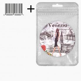 MIR_213 zip10*15+стикер ш/к зеркало 2ое с увеличением складное карман КРУГ 7,5см МИКС - виды ВЕНЕЦИИ в ШБ 38 гр.(12 шт/уп ZIP 18*25- 480/кор)