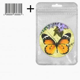 MIR_216 zip10*15+стикер ш/к зеркало 2ое с увеличением складное карманное КРУГ 7,5см рисунок МИКС - БАБОЧКИ в ШБ 38 гр.(12 шт/уп 480/кор)