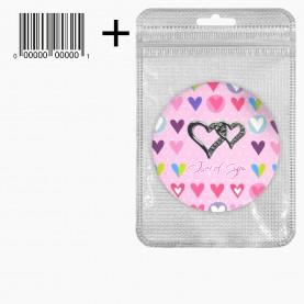 MIR_218 zip10*15+стикер ш/к зеркало 2ое с увеличением складное карманное КРУГ 7,5см рисунок МИКС - LOVE в ШБ 40 гр.(12 шт/уп ZIP 18*25 480/кор)