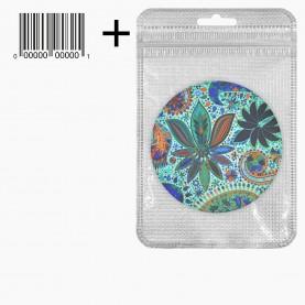 MIR_219 zip10*15+стикер ш/к зеркало 2ое с увеличением складное карманное КРУГ 7,5см рисунок МИКС - КАЛЕЙДОСКОП в ШБ 38 гр.(12 шт/уп ZIP 18*25 480/кор)