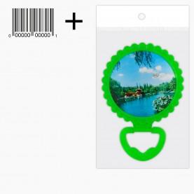 MIR 31 OPP+стикер ш/к зеркало КРУГ 12см 1стороннее с ободком 15 см на подставке 70 гр. (12 шт/уп ZIP 25*35- 360/кор)