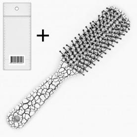 CMB203+стикер ш/к расческа - щетка продолговат с ручкой кракелюр 16,5*3*2,5 см. 34 гр в ОРР (12 шт/уп ZIP 25*35-432шт/кор)