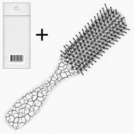 CMB204+стикер ш/к расческа - щетка продолговат с ручкой кракелюр 16,5*3*2,5 см. 33 гр в ОРР (12 шт/уп бокс -432шт/кор)