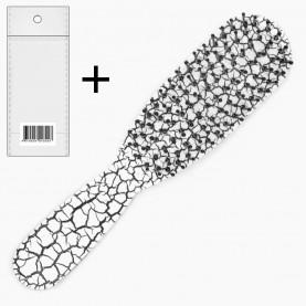 CMB206+стикер ш/к расческа - щетка продолговат с ручкой кракелюр изогнут 15,5*3,5*2,5 см. 36 гр ОРР (12 шт/уп-432шт/кор)