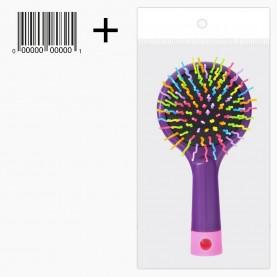 CMB518 +стикер ш/к щетка кругл +зеркало с цветн ручкой пластик зубц разноцвет подушка-черн 15*7,5*3 / 67 гр. в ОРР (6шт/уп ZIP 25*35 кор/240шт)