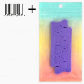 SPT005 ZIPград+стикер шк педикюрный разделитель сердечки 11 см за ПАРУ 5 гр. (10шт/уп ZIP 17*25 2400/кор)