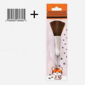 BR001 УПАК тигрик лапки кисть для макияжа 12 см 20 гр.+ШК этикетка (12шт/zip пакет 15*20)