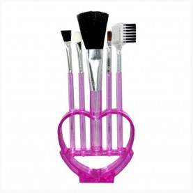 SB002 набор кистей для макияжа 5 шт косметич подставка сердце12-15см кисти 26 гр.( 12шт/уп 360/кор)
