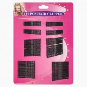 HCL40 Невидимки для волос на БЛИСТЕРЕ 150 шт, длина 5 см ЧЕРНЫЕ: / цена за блистер 82 гр. (12/уп 288 шт/уп)