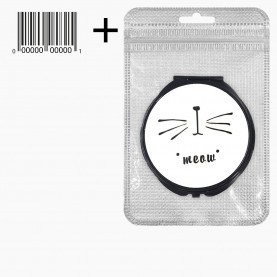 MIR_505 zip10*15+стикер ш/к зеркало 2ое с увеличением складное карманное КРУГ 7,5 см МИКС - надписи MEOW*FISH 57 гр.(12 шт/уп 288/кор)